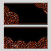 Australian aboriginal geometric art concentric circles in orange brown and black, two cards set, vector — Stock Vector