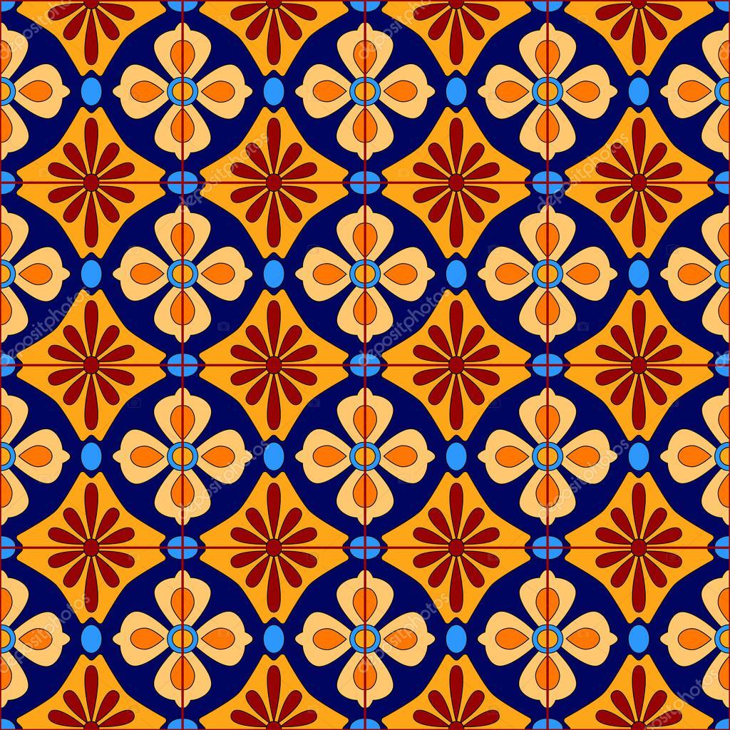 Mexicano estilizado talavera azulejos patr n sin costuras for Azulejos de mexico