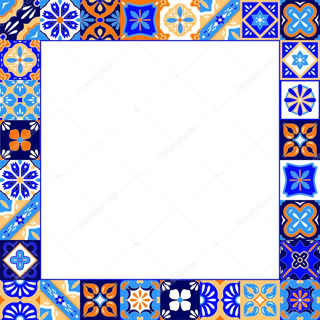 Azulejos de talavera estilizada mexicano marco en azul for Azulejo de talavera mexico