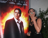 Nicolas Cage Poster, Jordin Sparks — Stock Photo