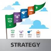 Modello grafico informazioni con banner bandiera colorata — Vettoriale Stock
