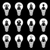 Glühlampe Icon mit Idee Konzept — Stockvektor
