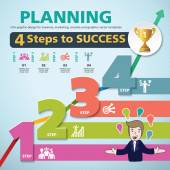 4 Steps to success template modern info graphic design — Stock Vector