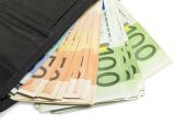 Open wallet with euro banknotes — Stock Photo