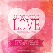 Valentines day party flyer with modern design and retro elements. — Stock Vector