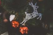 Fir tree deer decoration — 图库照片