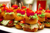 Tasty Canapes on skewers — Stock Photo
