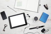 Workplace. Empty notepad, tablet pc and smart phone on white woo — Stock Photo