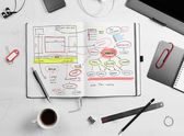 Developer workplace. Open notepad with hand drawn website projec — Stock Photo