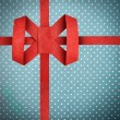 Hand made red ribbon with bow. Blue Fabric and White Tiny Polka — Stock Photo #60078793