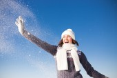 Portrait of happy young woman have fun at beautiful sunny winter — Foto Stock