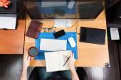 Freelance developer and designer working at home, man using desk — Stock Photo