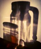 Shadows on the wall of the glassware. Early Morning. Cross proce — Stock Photo