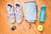 Pair of sport shoes and fitness accessories. Fitness concept — Stock Photo