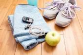 Pair of sport shoes and fitness accessories. Fitness concept — Стоковое фото