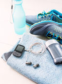 Pair of sport shoes and fitness accessories. Fitness concept — Stockfoto