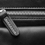 Close up of black leather bag zipper, black leather bag close up — Stock Photo #72240629