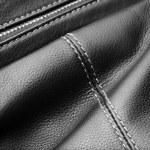Close up of black leather bag zipper, black leather bag close up — Stock Photo #72240665