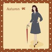 Autumn lady - Illustration — Vector de stock