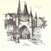 Vector sketch old town - Illustration — Stockvektor