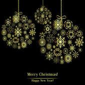 Golden Christmas ball made of gold snowflakes. — Stock Vector