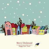 Julkort med hus, vektor — Stockvektor