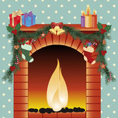 Illustration of christmas decoration around fire place — Stockvektor