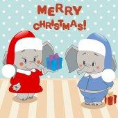 Elefante dà un regalo. Sfondo di Natale, vettore — Vettoriale Stock