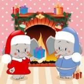象は、贈り物を与えます。クリスマスの背景、ベクトル — ストックベクタ