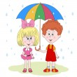 Little girl and boy under a umbrella. Vector — Stock Vector #75278387