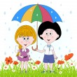 Little girl and boy under a umbrella. Vector — Stock Vector #75278395