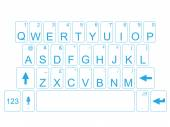 KEYBOARD QWERTY BLUE — Stock Vector