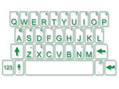 KEYBOARD QWERTY FLAT GREEN — Stock Vector