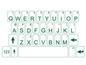 KEYBOARD QWERTY GREEN — Stock Vector