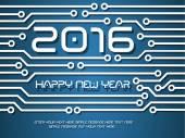 2016 HAPPY NEW YEAR CIRCUIT TECNOLOGY — Stock Vector