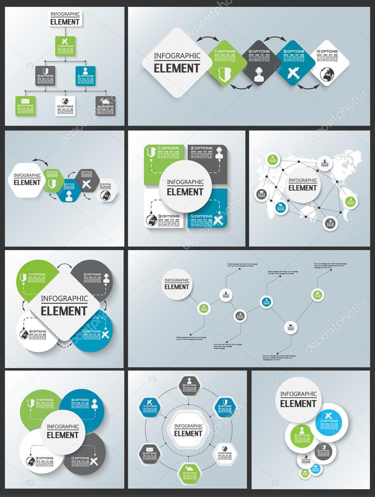 COLLECTION OF ELEMENT FOR INFOGRAPHIC CHART TEMPLATE GEOMETRIC – Element Chart Template