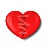 Illustration of broken heart with plaster — Stock Vector
