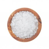 Sea salt in wooden bowl for cooking or spa — Stockfoto