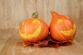 Halloween pumpkins with funny face — Stock Photo