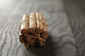 Bunch of cinnamon sticks tied with twine — Stock Photo