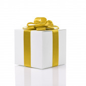 Gift box with handmade yellow ribbon bow — Stock Photo