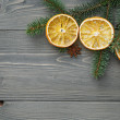 Spruce twig with dried orange slices and anise — Stock Photo #56929609