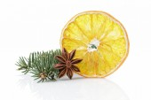 Traditional christmas decorations dried orange anise star — Stock Photo