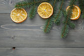 Spruce twig with dried orange slices — Stockfoto