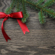 Spruce twig with red bow — Stock Photo #57529569