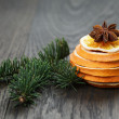 Dried orange spruce twig and anise — Stock Photo #58078871