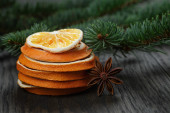 Dried orange slices with anise star — Stock Photo
