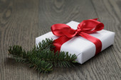 White gift box for christmas — Stock Photo