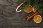 Christmas decorations on old oak table — Stock Photo
