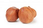 Three hazelnut kernels isolated — Stock Photo